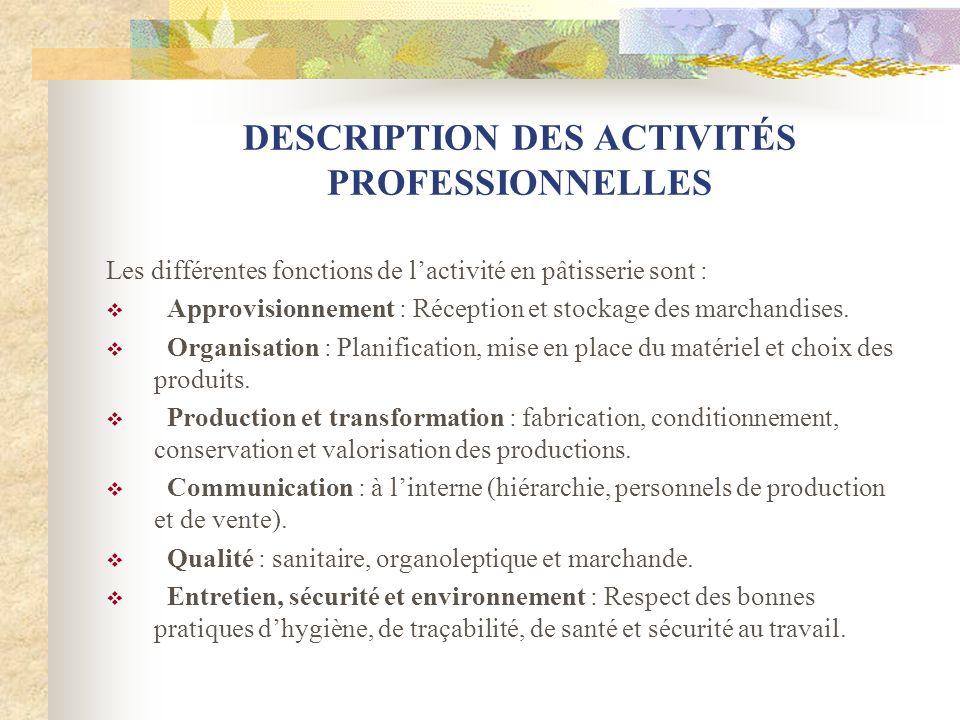 DESCRIPTION DES ACTIVITÉS PROFESSIONNELLES