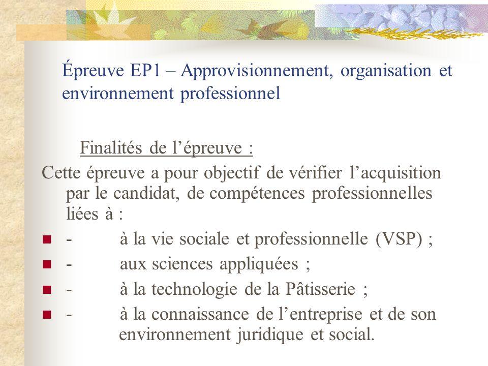Épreuve EP1 – Approvisionnement, organisation et environnement professionnel