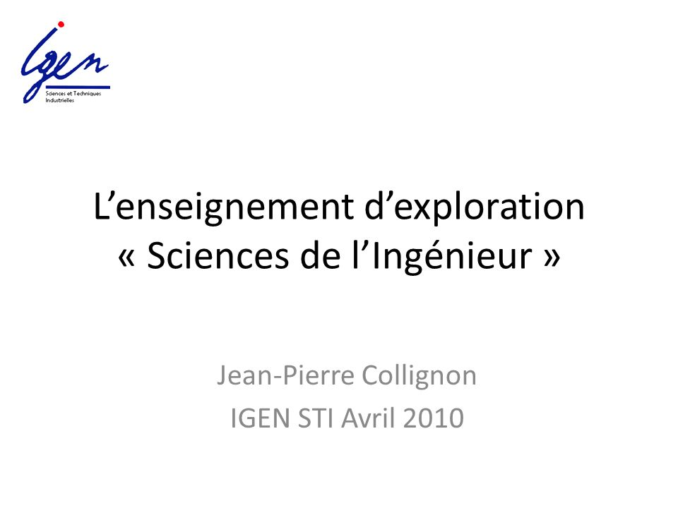 L'enseignement d'exploration « Sciences de l'Ingénieur »