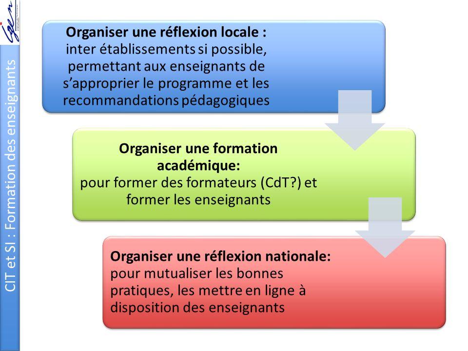 CIT et SI : Formation des enseignants
