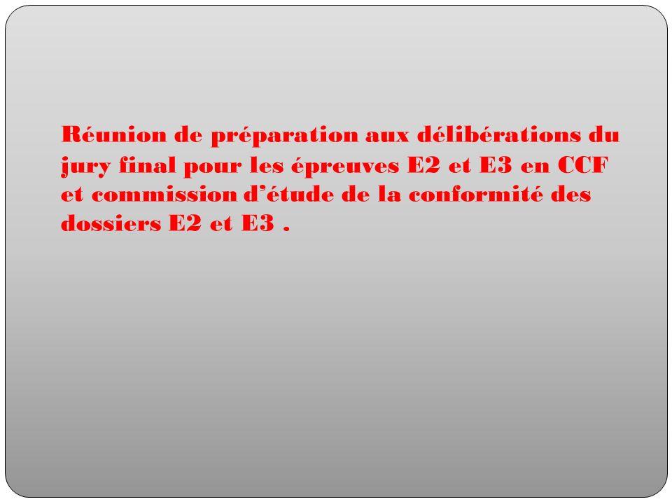 Réunion de préparation aux délibérations du jury final pour les épreuves E2 et E3 en CCF et commission d'étude de la conformité des dossiers E2 et E3 .