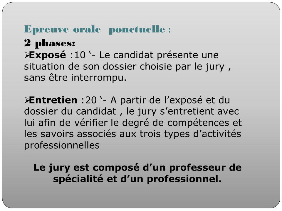 Epreuve orale ponctuelle : 2 phases: