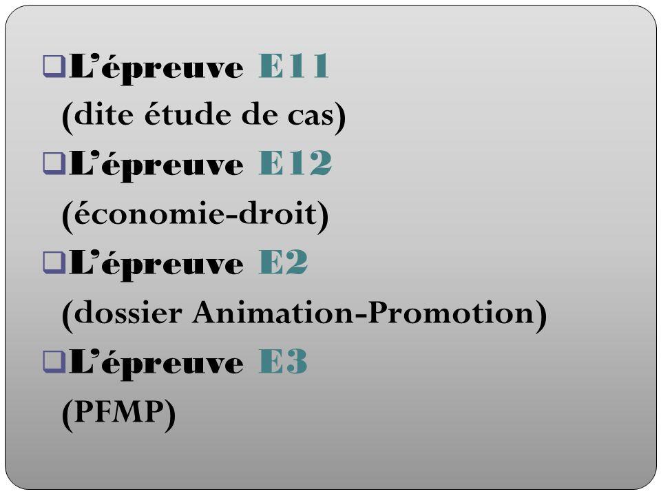 L'épreuve E11 (dite étude de cas) L'épreuve E12. (économie-droit) L'épreuve E2. (dossier Animation-Promotion)