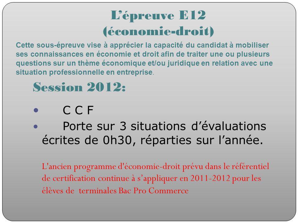 L'épreuve E12 (économie-droit)