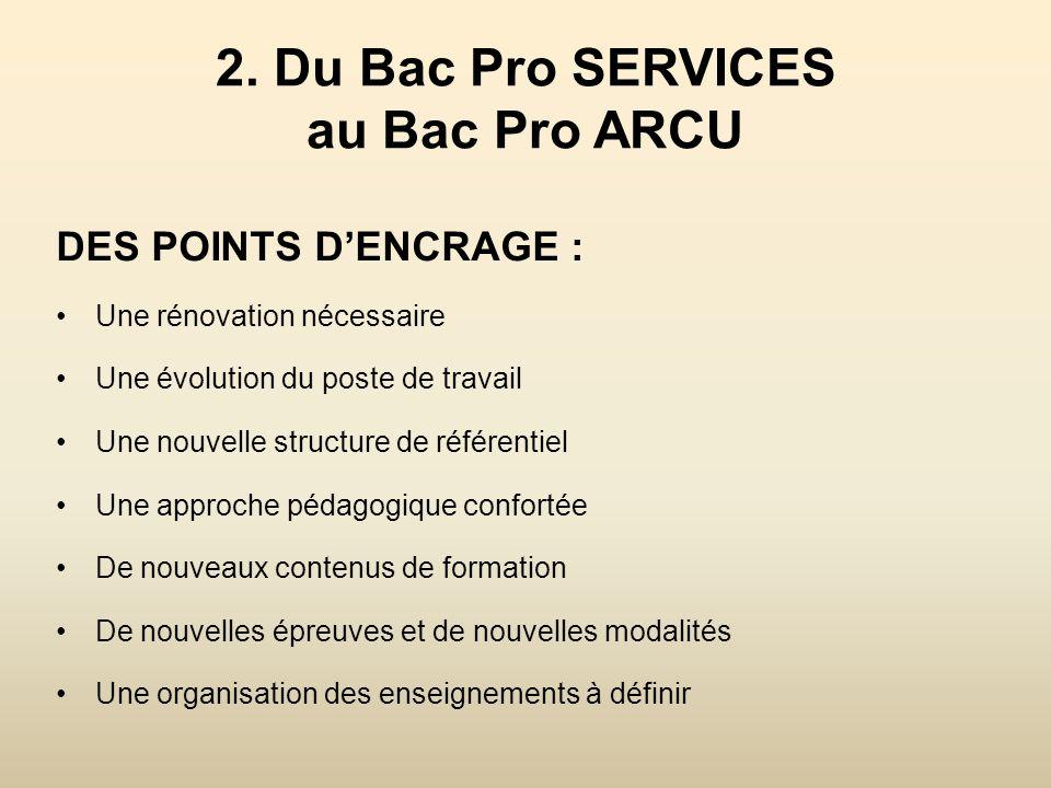 2. Du Bac Pro SERVICES au Bac Pro ARCU