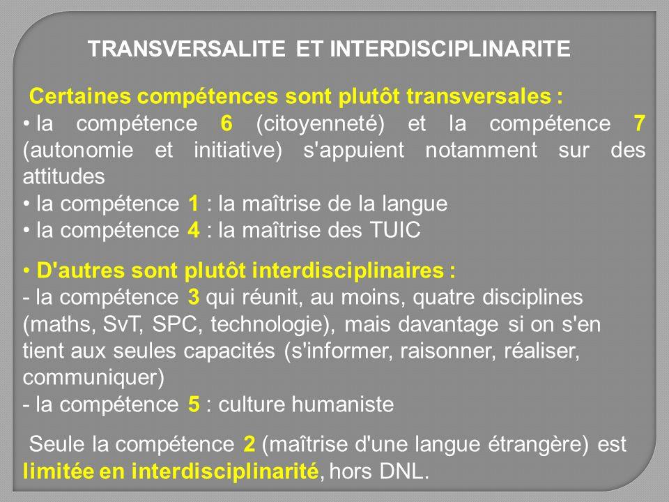 TRANSVERSALITE ET INTERDISCIPLINARITE