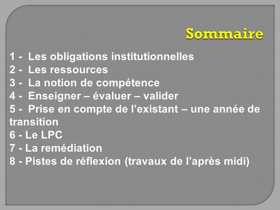 Sommaire 1 - Les obligations institutionnelles 2 - Les ressources