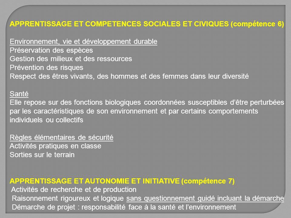 APPRENTISSAGE ET COMPETENCES SOCIALES ET CIVIQUES (compétence 6)
