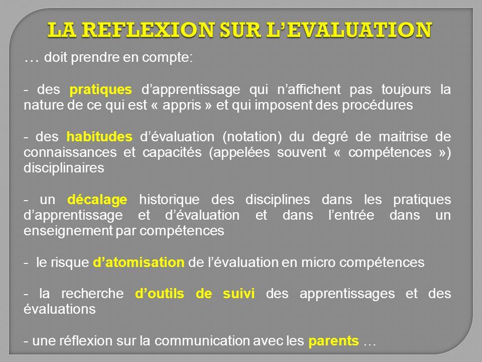 LA REFLEXION SUR L'EVALUATION