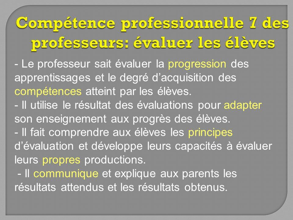 Compétence professionnelle 7 des professeurs: évaluer les élèves