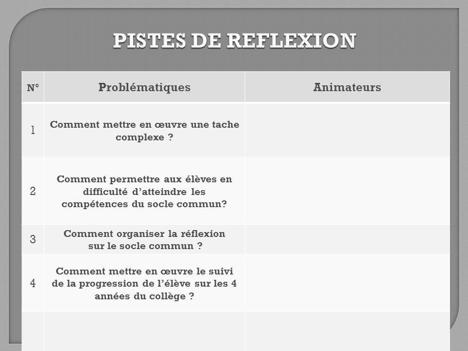 PISTES DE REFLEXION Problématiques Animateurs 1 2 3 4 N°