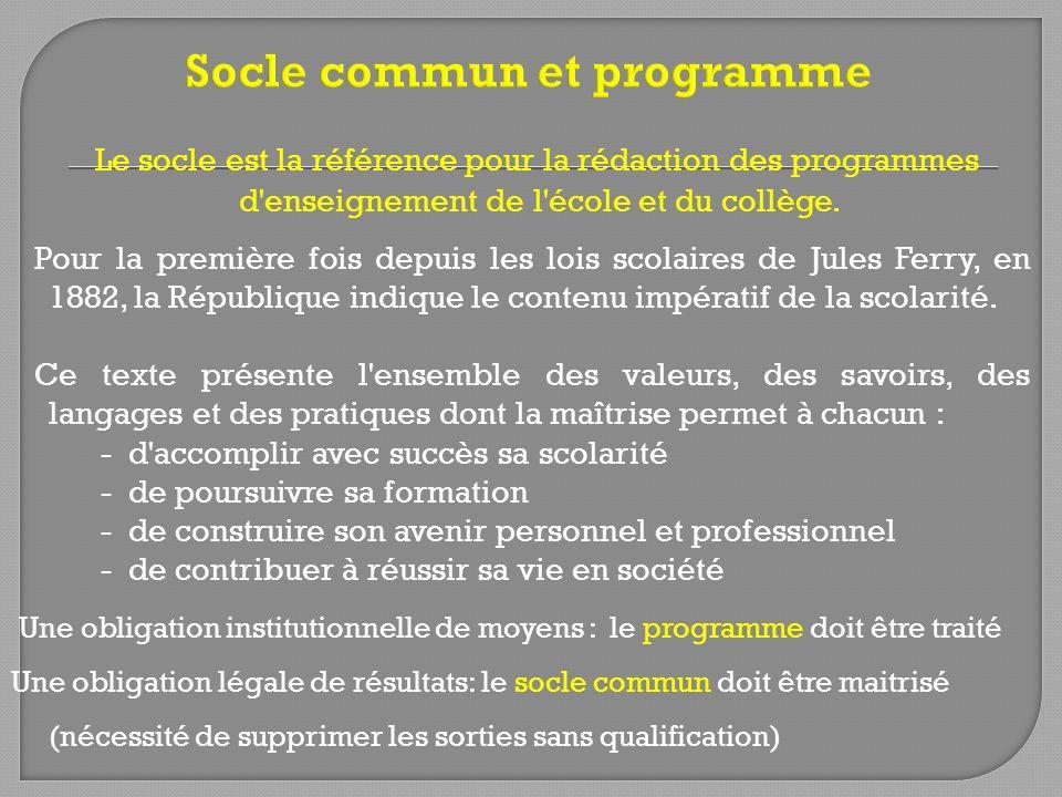 Socle commun et programme