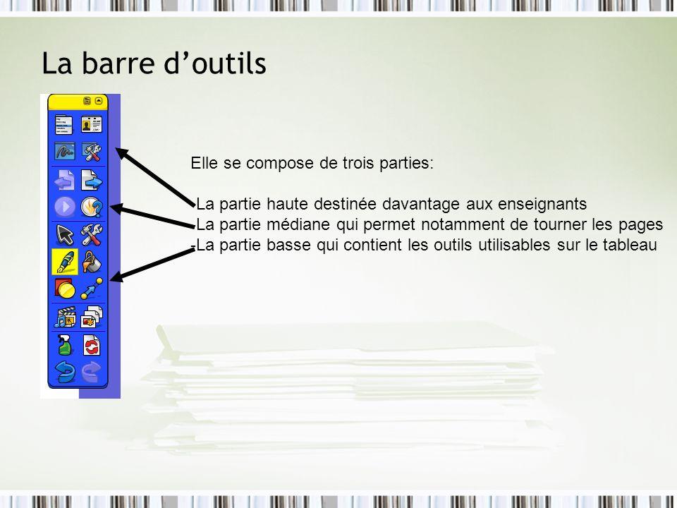La barre d'outils Elle se compose de trois parties: