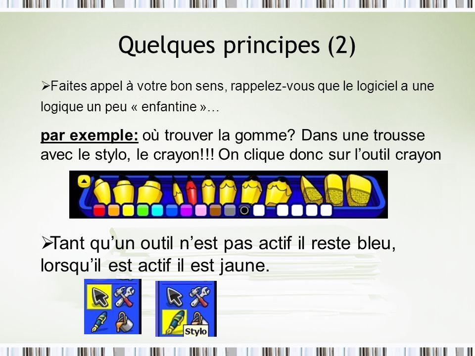 Quelques principes (2) Faites appel à votre bon sens, rappelez-vous que le logiciel a une logique un peu « enfantine »…