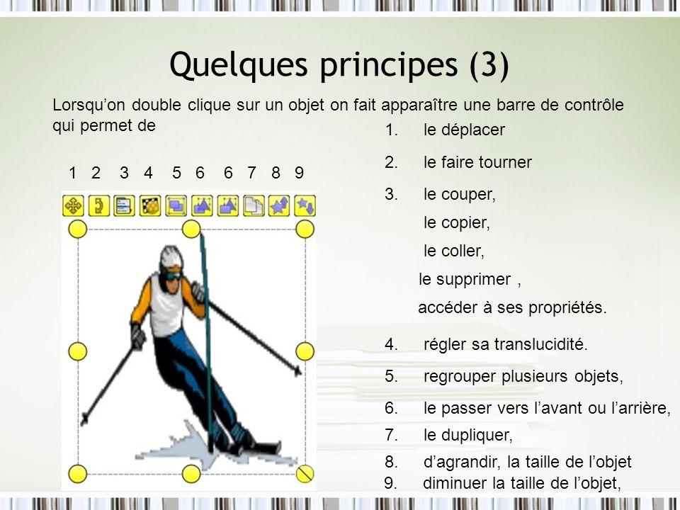 Quelques principes (3) Lorsqu'on double clique sur un objet on fait apparaître une barre de contrôle qui permet de.