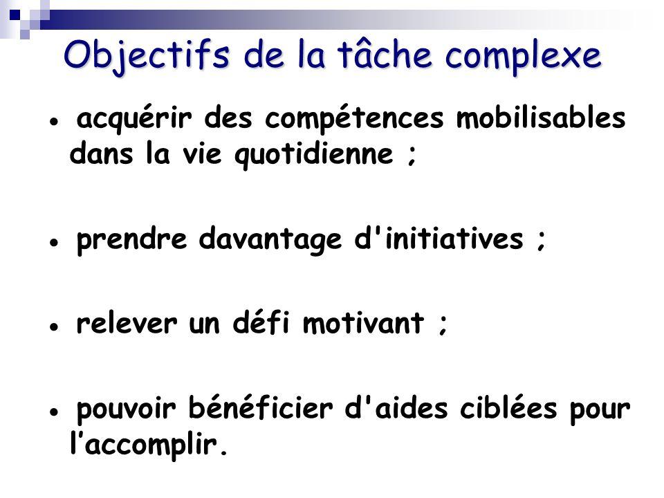 Objectifs de la tâche complexe