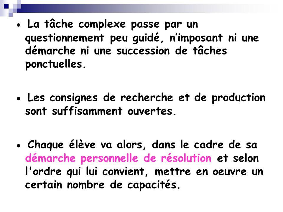 ● La tâche complexe passe par un questionnement peu guidé, n'imposant ni une démarche ni une succession de tâches ponctuelles.