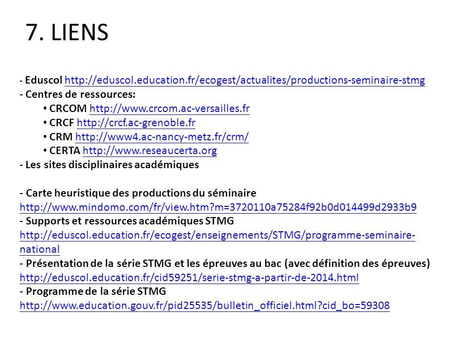 7. LIENS Centres de ressources: