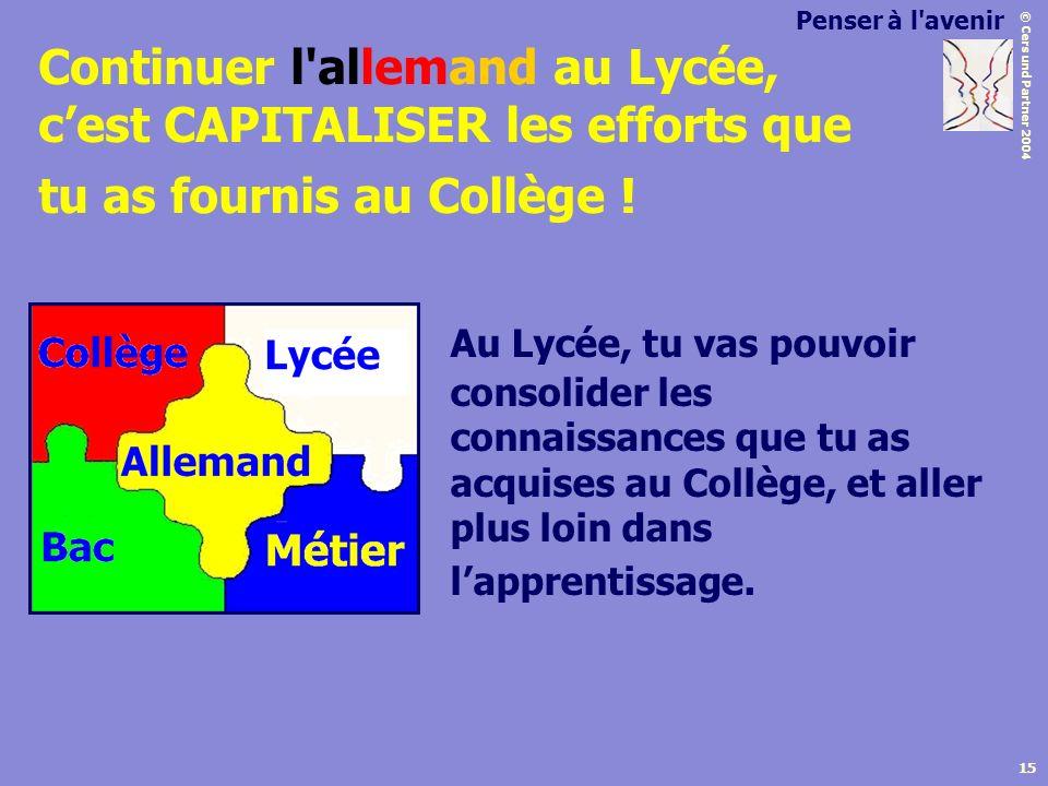 Penser à l avenir Continuer l allemand au Lycée, c'est CAPITALISER les efforts que tu as fournis au Collège !