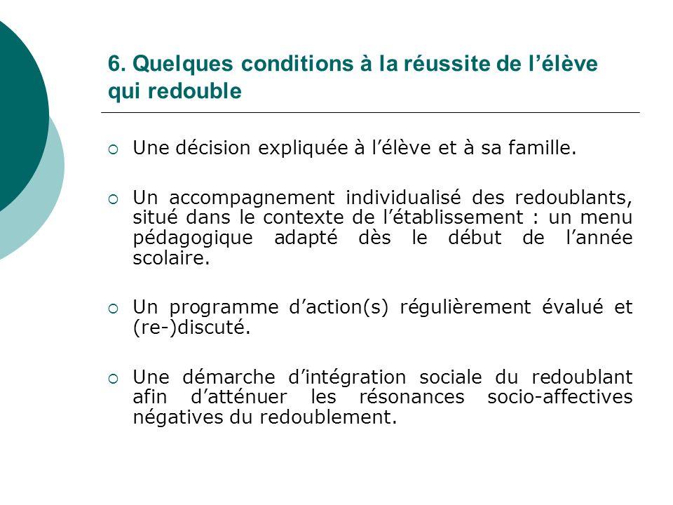 6. Quelques conditions à la réussite de l'élève qui redouble