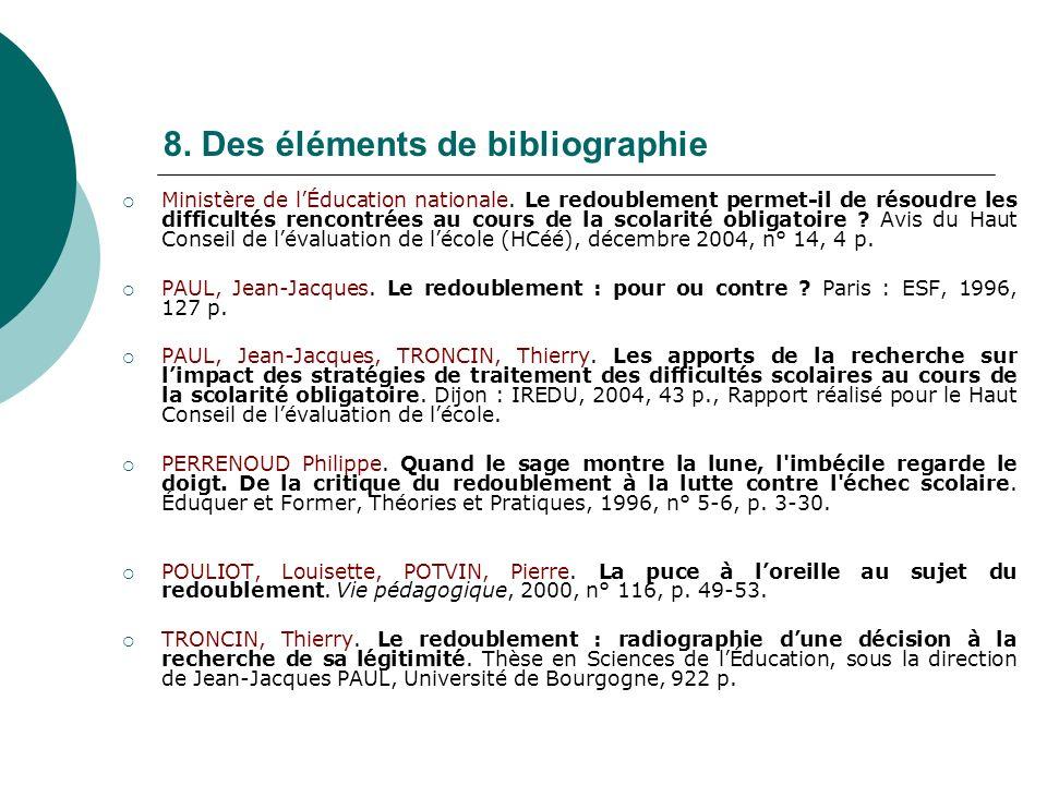 8. Des éléments de bibliographie