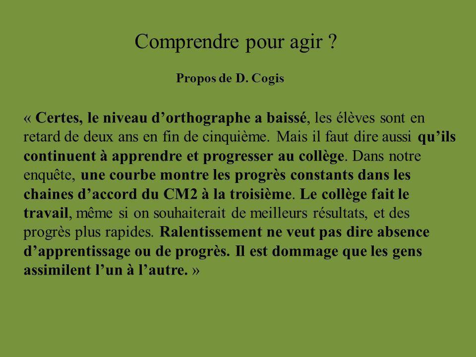 Comprendre pour agir Propos de D. Cogis.