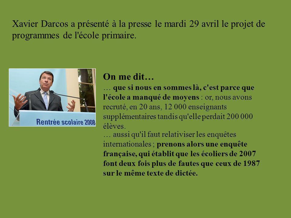 Xavier Darcos a présenté à la presse le mardi 29 avril le projet de programmes de l école primaire.