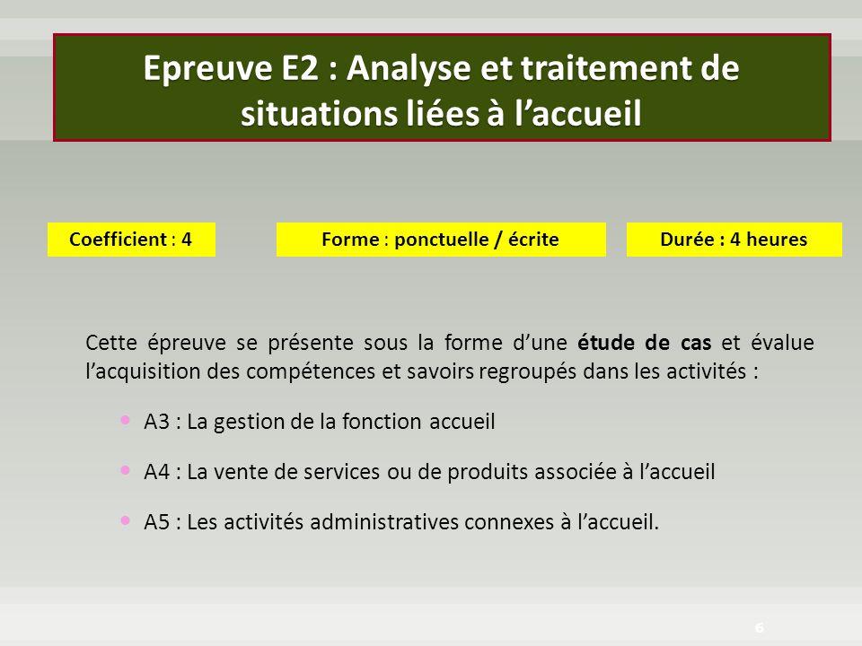 Epreuve E2 : Analyse et traitement de situations liées à l'accueil