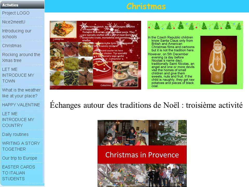 Échanges autour des traditions de Noël : troisième activité