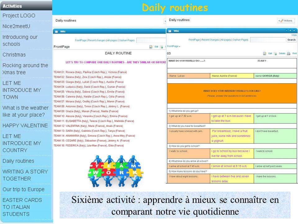 Daily routines Sixième activité : apprendre à mieux se connaître en comparant notre vie quotidienne