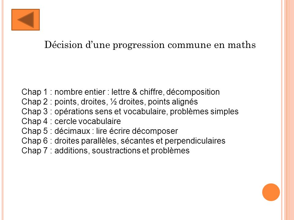 Décision d'une progression commune en maths