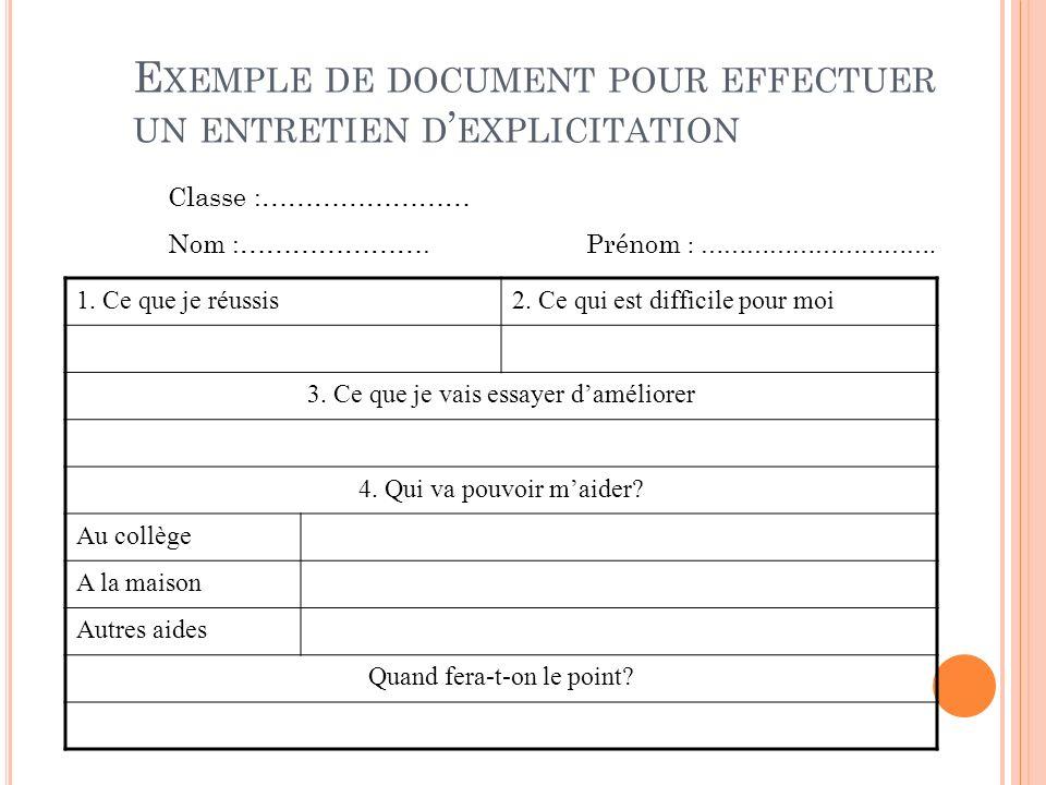 Exemple de document pour effectuer un entretien d'explicitation