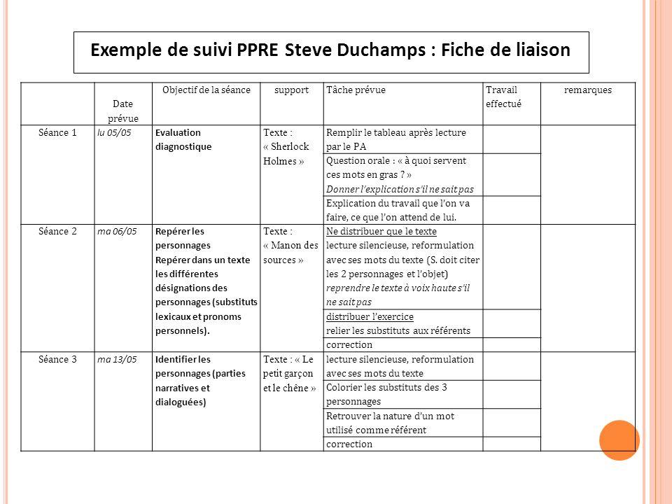 Exemple de suivi PPRE Steve Duchamps : Fiche de liaison