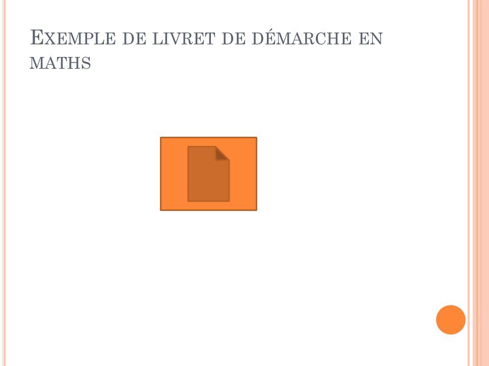 Exemple de livret de démarche en maths