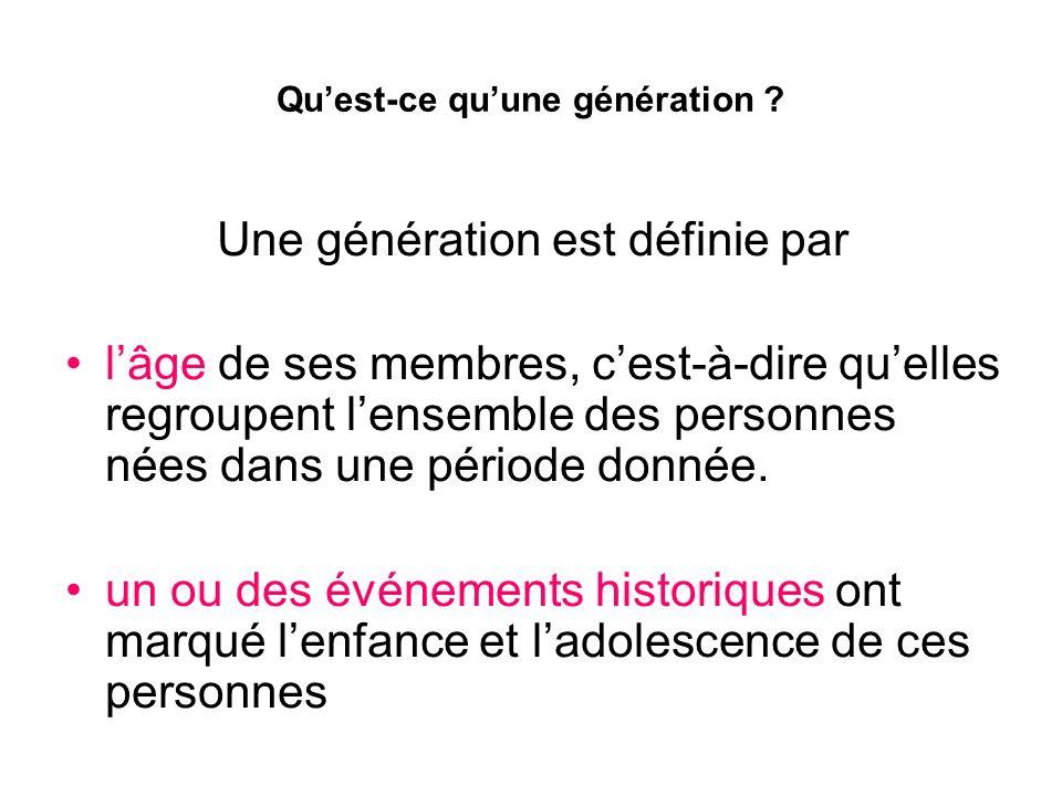 Qu'est-ce qu'une génération