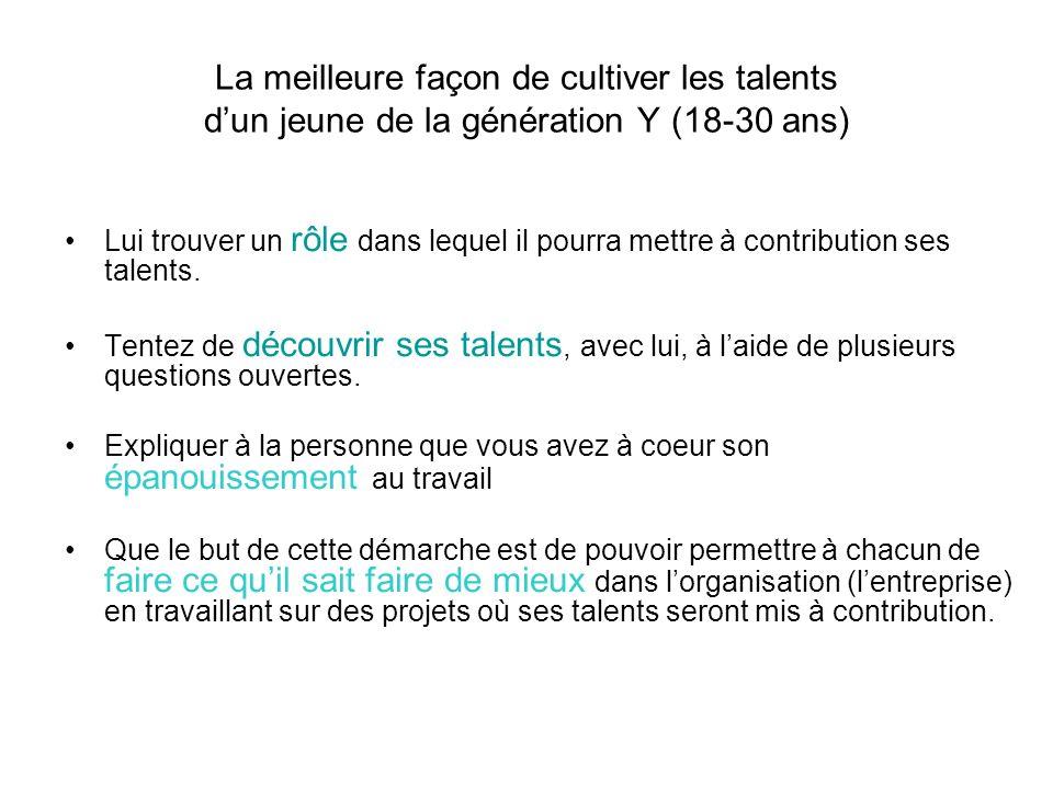 La meilleure façon de cultiver les talents d'un jeune de la génération Y (18-30 ans)