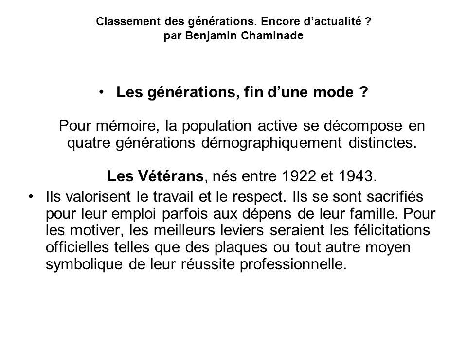 Classement des générations. Encore d'actualité par Benjamin Chaminade