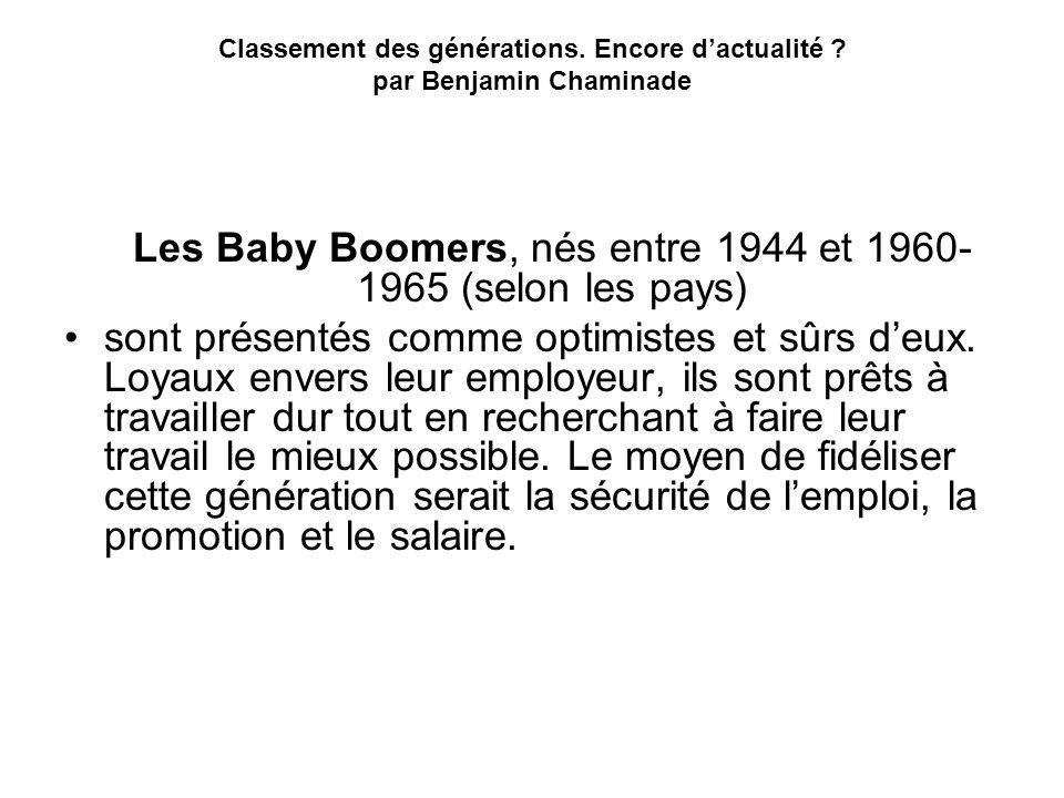 Les Baby Boomers, nés entre 1944 et 1960-1965 (selon les pays)