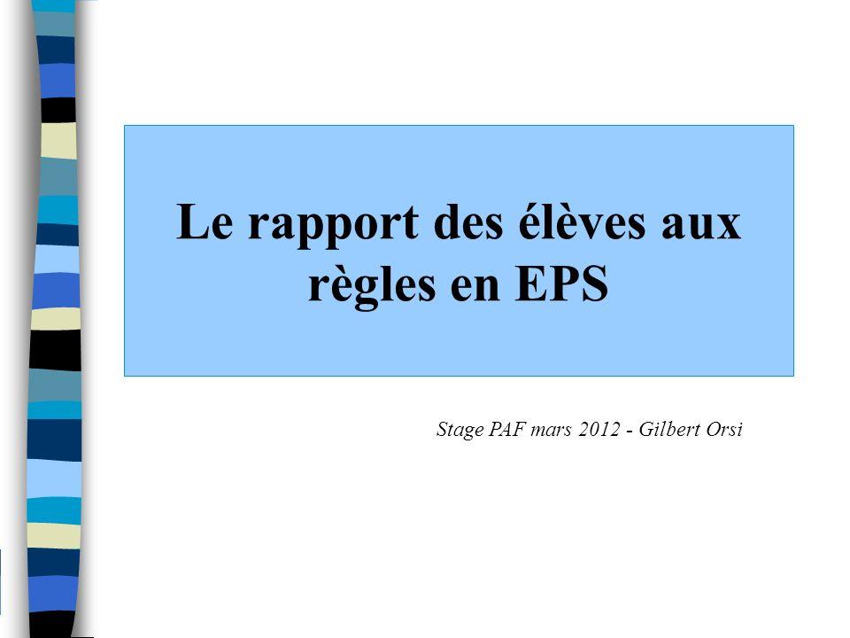 Le rapport des élèves aux règles en EPS