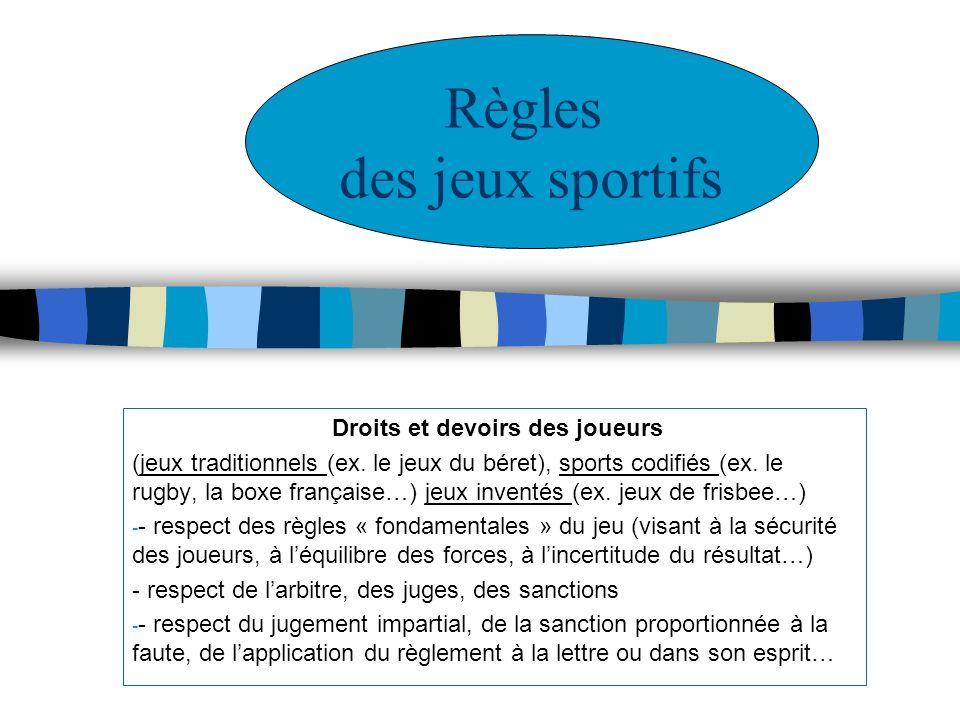 Règles des jeux sportifs