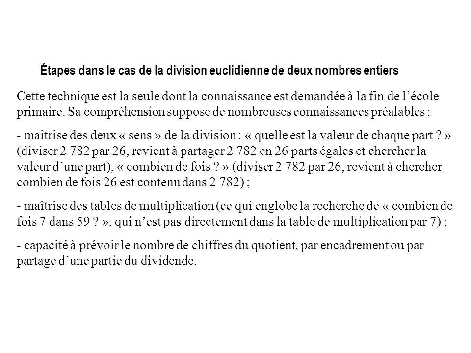 Étapes dans le cas de la division euclidienne de deux nombres entiers