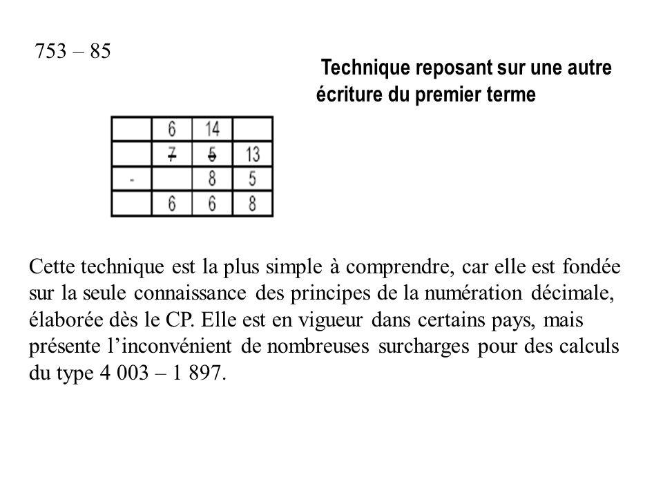 753 – 85 Technique reposant sur une autre écriture du premier terme.