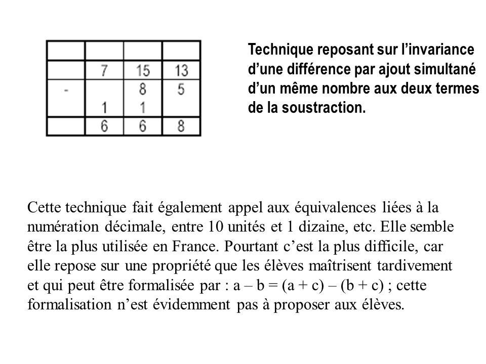 Technique reposant sur l'invariance d'une différence par ajout simultané d'un même nombre aux deux termes de la soustraction.