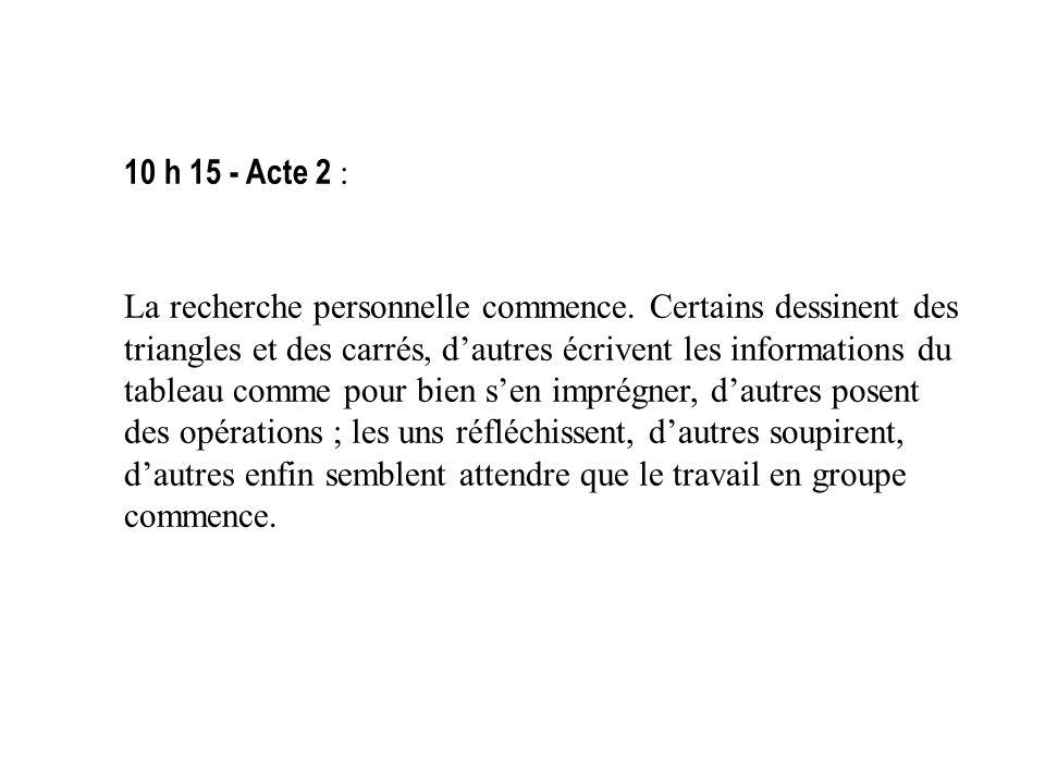 10 h 15 - Acte 2 :