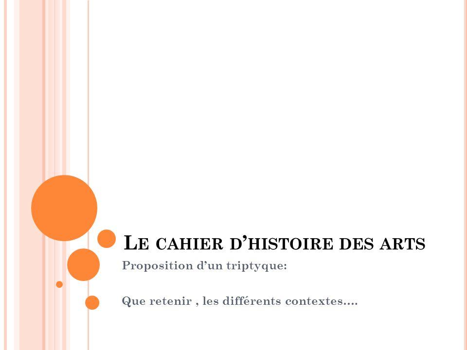 Le cahier d'histoire des arts