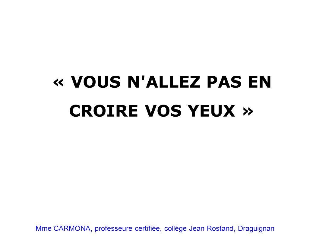 « VOUS N ALLEZ PAS EN CROIRE VOS YEUX »