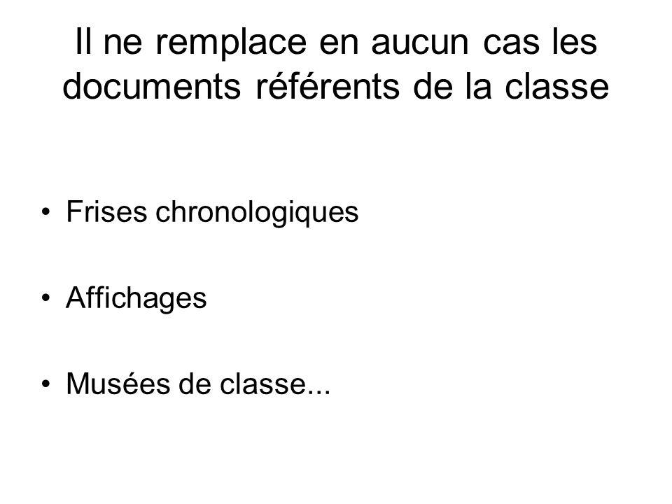 Il ne remplace en aucun cas les documents référents de la classe