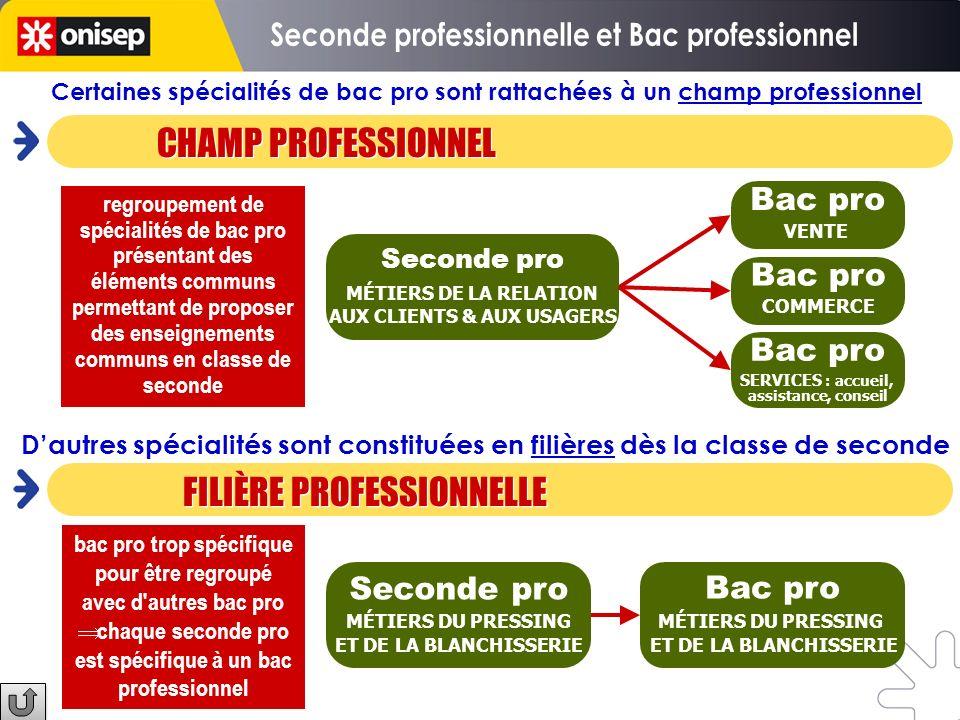 Seconde professionnelle et Bac professionnel