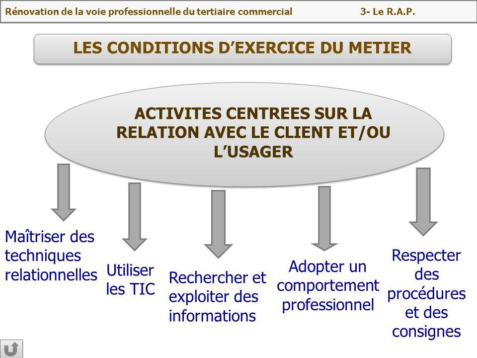 LES CONDITIONS D'EXERCICE DU METIER