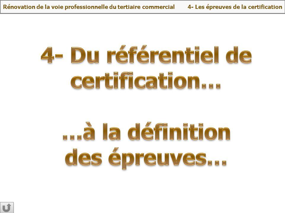4- Du référentiel de certification… …à la définition des épreuves…